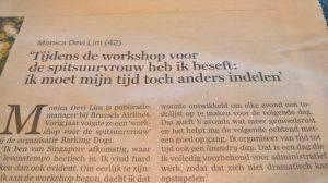 Workshop voor de spitsuurvrouw van Barking Dogs in De Standaard - www.barkingdogs.be