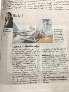 Budgettips en bespaartips van expert Sara Van Wesenbeeck in De Zondag - www.barkingdogs.be